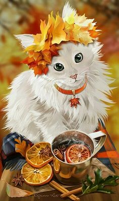 Mulled Wine by Kajenna Fete Halloween, Halloween Cat, Anime Animals, Cute Animals, Cat Anime, Warrior Cats, Cat Drawing, Animal Paintings, Dog Art