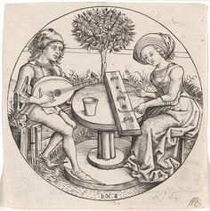The music making couple - Attributed to Master bxg , active c. 1470-1490 - Pinterest