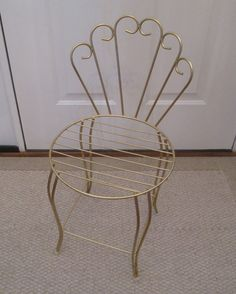 Gold Vanity Stool Vintage Bench Scrolling Metal Shabby Chic Hollywood Glamour