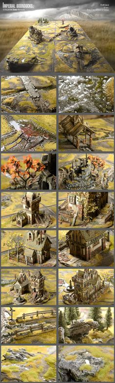 Imperial boondocks. Game table+ wargaming miniatures minis landscape terrain architecture trees buildings resource tool how to tutorial instructions | Create your own roleplaying game material w/ RPG Bard: www.rpgbard.com | Writing inspiration for Dungeons and Dragons DND D&D Pathfinder PFRPG Warhammer 40k Star Wars Shadowrun Call of Cthulhu Lord of the Rings LoTR + d20 fantasy science fiction scifi horror design | Not Trusty Sword art: click artwork for source