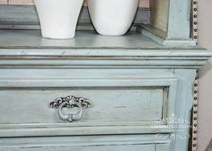 Hand Painted French Provincial Buffet & Hutch China Cabinet by CharmingPatina on etsy  Www.etsy.com/shop/charmingpatina  Chalk paint french linen old ochre duck egg blue annie sloan bedroom dining room buffet dresser