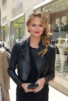 These 10 celebrities' spring beauty looks are perfect for the season: Chrissy Teigen's messy, side-swept braid.