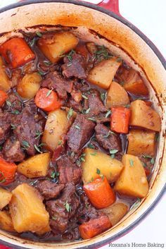 Flavorful beer braised beef with carrots and potatoes, cooked slow and low in the oven is an effortless weeknight meal. One bite of this tender, juicy, tad spicy beef is going to send you over the moo (Beer Recipes) Beer Recipes, Potato Recipes, Slow Cooker Recipes, Crockpot Recipes, Dinner Recipes, Cooking Recipes, Braiser Recipes, Meat And Potatoes Recipes, Campfire Recipes