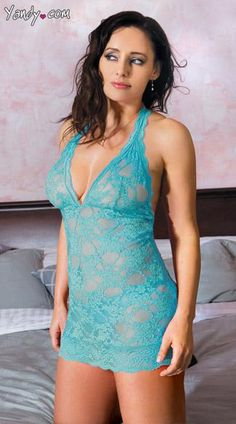 Plus Size Halter Lace Chemise - Pink lace, halter top chemise with spaghetti strap back detail and matching thong.