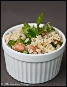 Cilantro Quinoa Salad. 1/2 cup has 117 cals. Again add ground turkey or put on side of crock pot chicken.