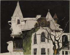 Alan Cober Art   from auction house records illustration gothic haunted house artwork ...