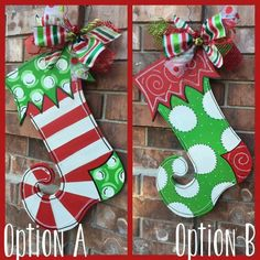 Christmas Stocking Door Hanger Christmas by CrazyArtTeacherLady Diy Christmas Door Decorations, Hanger Christmas Tree, Decorating With Christmas Lights, Christmas Wood, Christmas Signs, Christmas Stockings, Christmas Wreaths, Christmas Ornaments, White Christmas