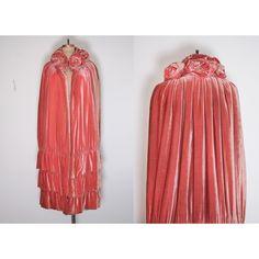 1920's Coat Antique Opera Cape Silk Velvet Cape Antique Cape ($1,375) ❤ liked on Polyvore featuring outerwear, coats, antique coat, silk coat, red cape, cape coat and red velvet cape