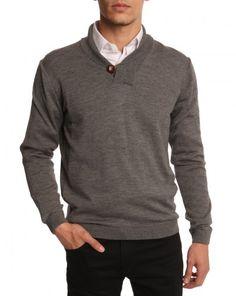 Pull en laine col châle gris chiné Menlook.com