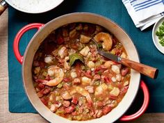 Make Alton Brown's Shrimp Gumbo recipe, a classic Cajun stew originating from Louisiana that's flavored with andouille sausage, from Good Eats on Food Network. Cajun Recipes, Seafood Recipes, Dinner Recipes, Cooking Recipes, Cajun Food, Holiday Recipes, Yummy Recipes, Chicken Recipes, Recipies