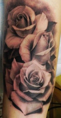 black and white rose shoulder tattoo - Google Search