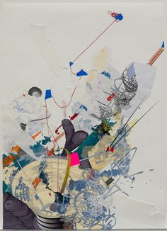 Sarah Sze - A drawing of what will later become her scultpture.