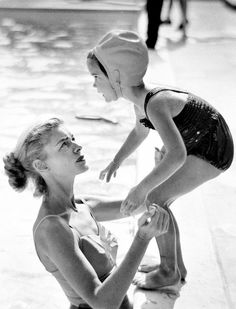 Lauren Bacall with her daughter Leslie, 1950s. Photograph by Phil Stern
