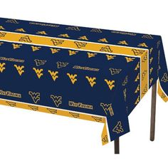 West Virginia Univ 54 x 108 Plastic Tablecover/Case of 12