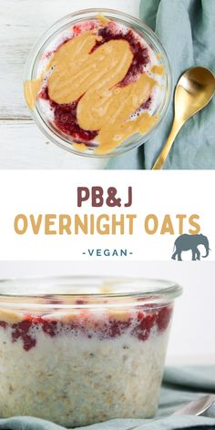 Say hello to your new favorite breakfast: PB&J Overnight Oats! You can bring your overnight oats game to the next level by adding homemade strawberry jam and delicious peanut butter sauce. Vegan Recipes Easy Healthy, Vegan Breakfast Recipes, Vegan Desserts, Vegan Meals, Vegan Food, Healthy Eats, Vegan Vegetarian, Vegetarian Recipes, Strawberry Chia Jam