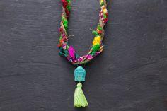 Bohemian Fiber Sari Necklace with Turquoise by MusingTreeStudios  #buddhajewelry #sarijewelry #recycledsari #tasseljewelry #etsyjewelry #handmadejewelry #fiberjewelry