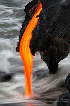 Molten lava flow