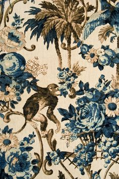 This fabric has an elegant teal and taupe floral animal print. Suitable for soft furnishings and curtains. Monkey Wallpaper, Tier Wallpaper, Animal Wallpaper, Fabric Wallpaper, Textures Patterns, Fabric Patterns, Print Patterns, Chinoiserie, Motifs Art Nouveau