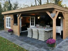With attached garden shed Backyard Studio, Backyard Bar, Backyard Sheds, Backyard Retreat, Backyard Landscaping, Outdoor Rooms, Outdoor Living, Garden Bar Shed, Backyard Storage