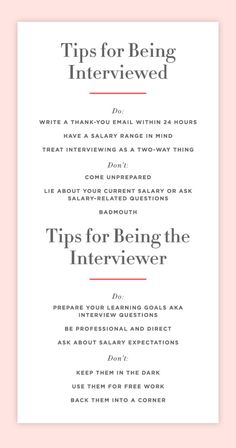 """Tips Every Interviewer (and Interviewee) Should Know. The """"dos"""" and """"don'ts"""" of interviews. Job Interview Questions, Job Interview Tips, Interview Preparation, Job Interviews, Resume Writing Tips, Resume Tips, Job Info, Jobs, Learning Goals"""