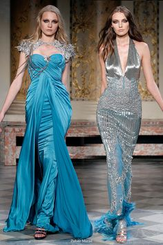 Blue and silver couture evening gowns from lebanese fashion designer Zuhair Murad
