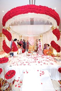 indian wedding mandap floral white red tradition http://maharaniweddings.com/gallery/photo/4913