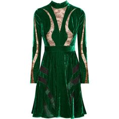 Elie SaabLace-paneled Crushed-velvet Dress ($3,075) ❤ liked on Polyvore featuring dresses, forest green, forest green dress, elie saab dresses, holiday cocktail dresses, green fitted dress and print dress