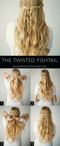 The Twisted Fishtail Hair Tutorial - Barefoot Blonde Waves in 15 minutes! Section hair into big sections then braid each in a loose braid. Run a flatiron over each braid, let them cool down, spra (Minutes Hairstyles Easy Hair) Down Hairstyles, Pretty Hairstyles, Amazing Hairstyles, Twisted Hairstyles, Easy Diy Hairstyles, Prom Hairstyles, Summer Hairstyles, Elegant Hairstyles, Hairdos