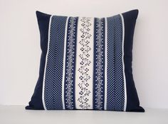 Blue Cushion Cover / Blue Pillow Cover size 16 by 16 inches White Cushion Cover, Polka Dotted Blue Cushion Cover Made in Australia #auswandarrah  #etsyauseller