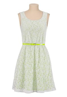 Lace dress with neon skinny belt