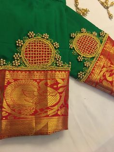 End Customization with Hand Embroidery & beautiful Zardosi Art by Expert & Experienced Artist That reflect in Blouse , Lehenga & Sarees Designer creativity that will sunshine You & your Party. Hand Work Blouse Design, Simple Blouse Designs, Sari Blouse Designs, Designer Blouse Patterns, Dress Neck Designs, Bridal Blouse Designs, Sleeve Designs, Hand Embroidery Designs, Simple Embroidery