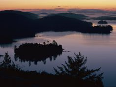 Adirondack Mountains Landscape with Lakes and Hills at Twilight Photographic Print