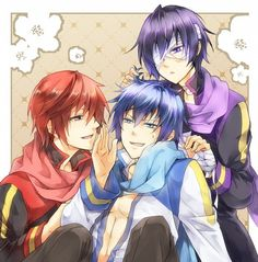 Vocaloid Kaito (blue), Taito (purple) and (red) Vocaloid Kaito, Kaito Shion, Blue Hair Anime Boy, Kaai Yuki, Final Fantasy Cosplay, Handsome Anime Guys, Fujoshi, Chibi, Anime Art
