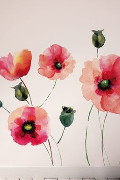 Removable wall murals. Watercolor Poppies Wall Art Kit by Brewster Home Fashions on @HauteLook