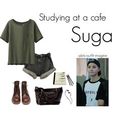 studying at a cafe by bts-outfit-imagine on Polyvore featuring картины, simple, kpop, korean, bts and Suga