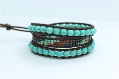 Wrap Bracelet, Boho Bracelet, Wrap Bracelet, Turquoise Wrap Bracelet, Beaded Wrap Bracelet, Leather Bracelet, Bracelets for Women, Gift by RadiantLotusJewelry on Etsy Beaded Wrap Bracelets, Turquoise, Boho, Trending Outfits, Unique Jewelry, Handmade Gifts, Leather, Etsy, Vintage