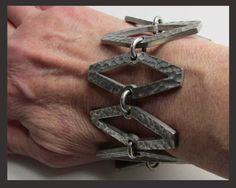 Jorgen Jensen Solvsmedie Brutalist Hammered Link Bracelet, Denmark--$135.00
