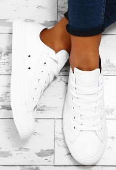 Chuck Taylor Converse All White Leather Trainers | Pink Boutique