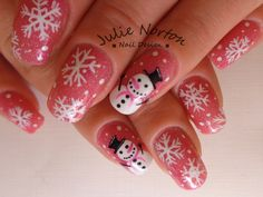 Christmas Nail Art | Snowman with Pink <3 Inspired By OIL123 <3