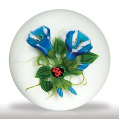 Ken Rosenfeld 1997 trumpet flowers and ladybug paperweight.(162) images