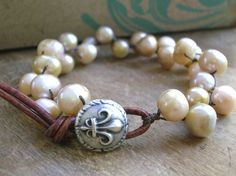 Boho pearl bracelet Love Knots Bohemian wrap by 3DivasStudio