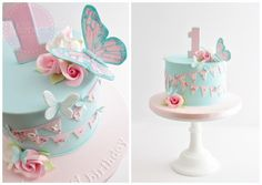 Butterflies, flowers and bunting birthday cake for a gorgeous little girl celebr. - Cakes - first birthday cake-Erster Geburtstagskuchen 1st Birthday Cake For Girls, Baby Birthday Cakes, Baby Cakes, Birthday Parties, Birthday Bunting, Birthday Diy, Birthday Ideas, Healthy Birthday, Cake Bunting