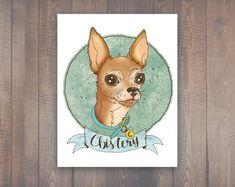 Custom Pet Portrait | Stylized Personalized Portrait | Handlettered & Drawn Pet Portrait | Paint My Pet | Paint My Dog | Fur Mama Gift