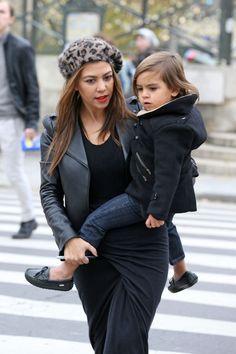 Kourtney Kardashian & Mason   I Love the way they dress him.