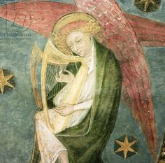 Angel musician playing a harp, detail from the vault of the crypt (fresco)