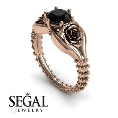 Rose Gold Engagement Ring : The Rose Spike Black Diamond Ring- Camilla no. 5 Rose Gold Engagement Ring by Segal Jewelry Sharing is caring, don't forget to Unique Diamond Engagement Rings, Beautiful Engagement Rings, Diamond Rings, Vintage Style Rings, Blue Sapphire Rings, Flower Vintage, Wedding Bands, Wedding Ring, Gold Wedding