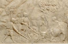 Scultore fiorentino della metà del XV secolo -paliotto a bassorilievo con il Ritrovamento della sacra immagine della Vergine di Impruneta (dettaglio) -  Museo del Tesoro di Santa Maria all'Impruneta