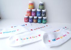 Father's Day. Gifts and presents for dad or any other loved one. Easy craft for all ages. Paint your own personal message or picture and iron onto socks or other garments for immediate stunning effect.