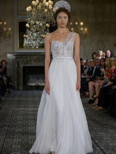 Mira Zwillinger one-shoulder wedding dress with silk chiffon skirt and lace bodice from Spring 2016
