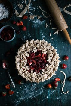 Triple Berry Pie with a Vanilla Bean Crust I love the color of the table!